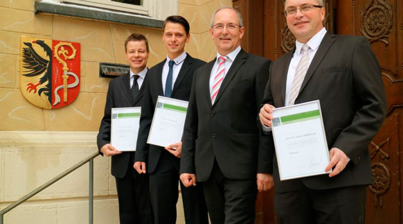 Prof. Dr. Michael Koch, Prof. Dr. Fabian Behrendt, Prof. Dr. Ottmar Schneck (Rektor), Prof. Dr. Diet (v.l.n.r.). Foto: SRH Fernhochschule